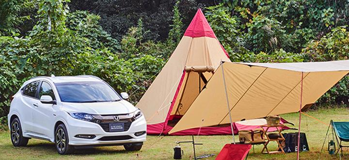ヴェゼルでキャンプ
