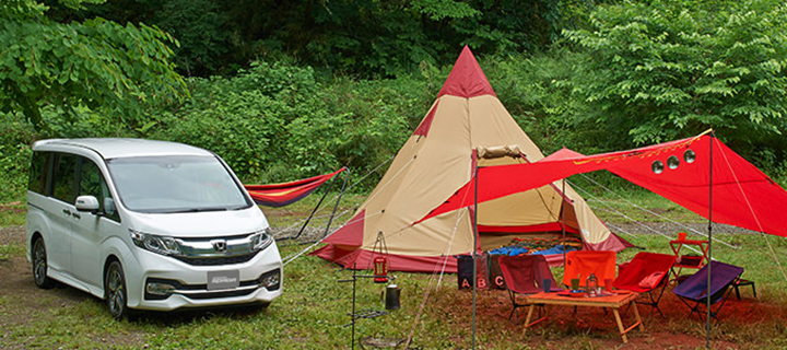 ステップワゴンでキャンプ