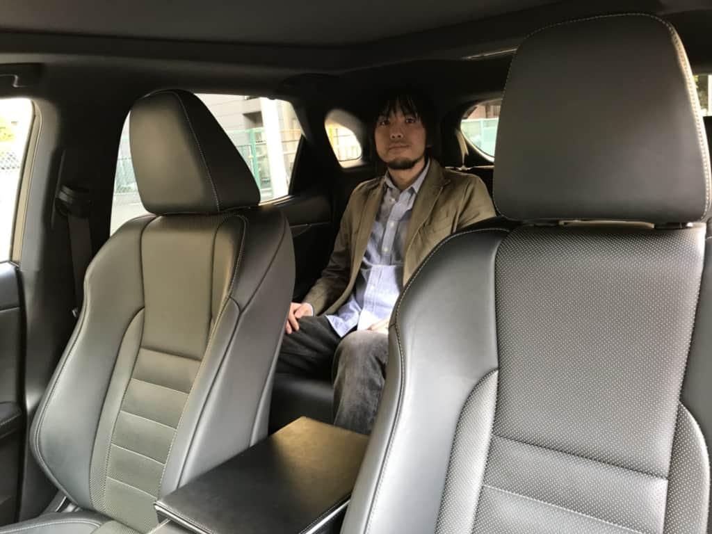 レクサスRXの後部座席乗車