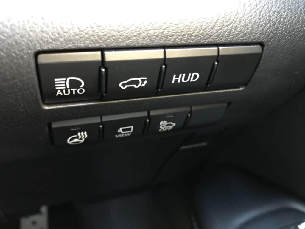 レクサスRXのオートマチックハイビーム、パワーバックドア、ヘッドアップディスプレイ、ステアリングヒーター、パノラミックビューモニター、車両接近通報一時停止スイッチ