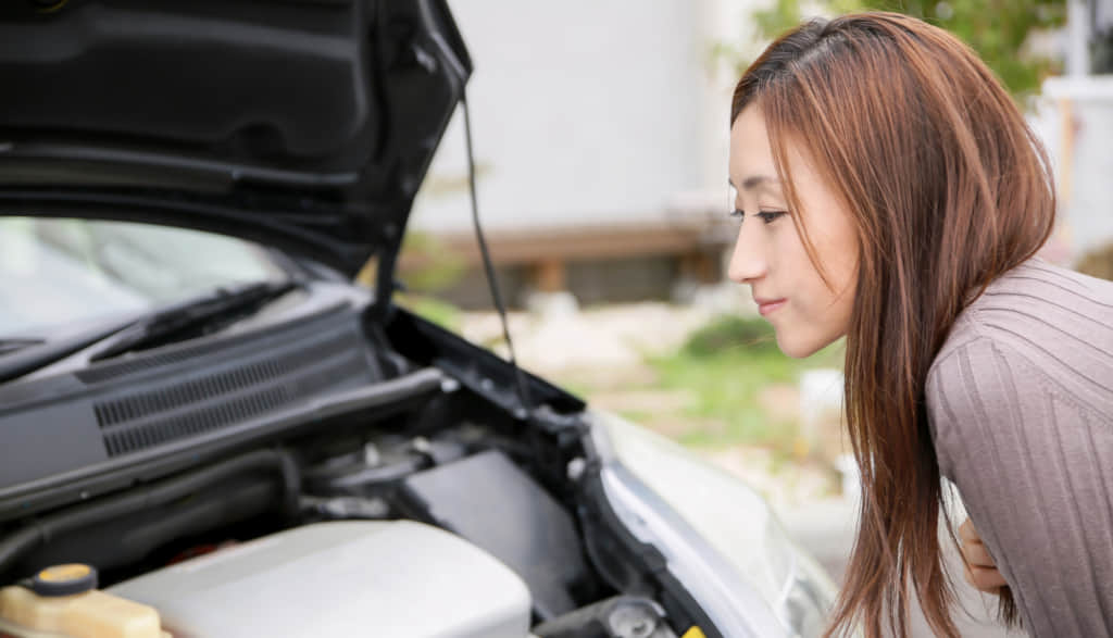 車を見る女性